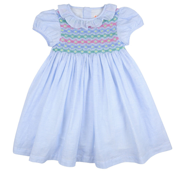 Katherine Johnson Dress Blue/White Stripe Linen with Unicorn Hair Smocking