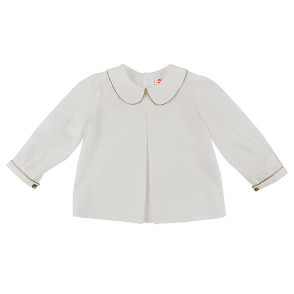 Marie Curie Organic Blouse Ivory with Gold Piping