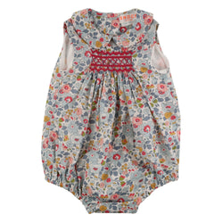 Mary Anning Romper Liberty Betsy Cotton with Cherry Smocking