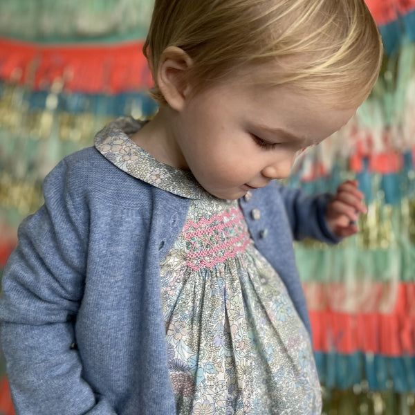 Mary Anning Romper Liberty Margaret Annie with Strawberry Smocking