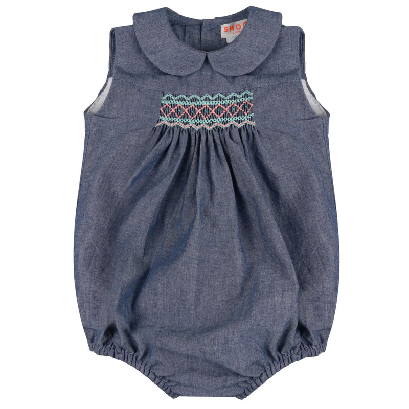 Mary Anning Romper True Blue Chambray with Mermaid/Watermelon Smocking