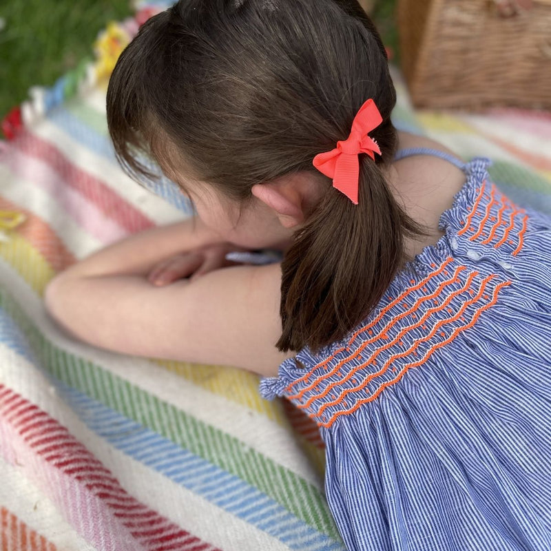 Maya Angelou Strappy Top and Bloomer Set Blue Stripes with Neon Orange Smocking
