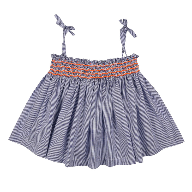 Maya Angelou Strappy Top Blue Stripes with Neon Orange Smocking
