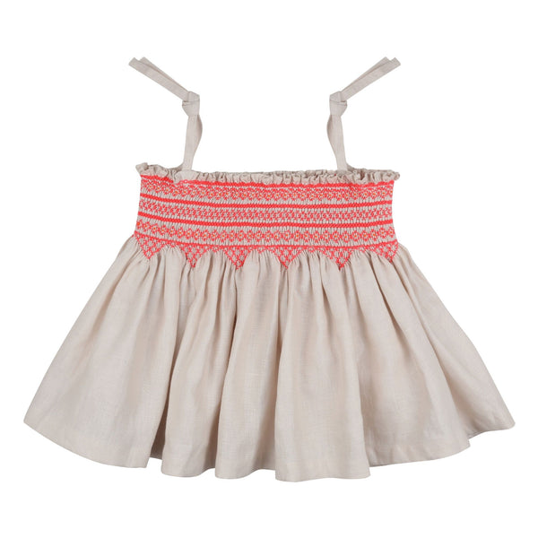 Maya Angelou Strappy Top Sweet Pea Linen with Funky Flamingo Smocking