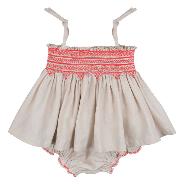 Maya Angelou Strappy Top and Bloomer Set Sweet Pea Linen with Funky Flamingo Smocking