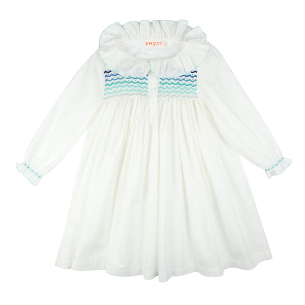 *PRE-ORDER* Nightingale Night Dress Moonstone with Blue Ombre Scallop Smocking