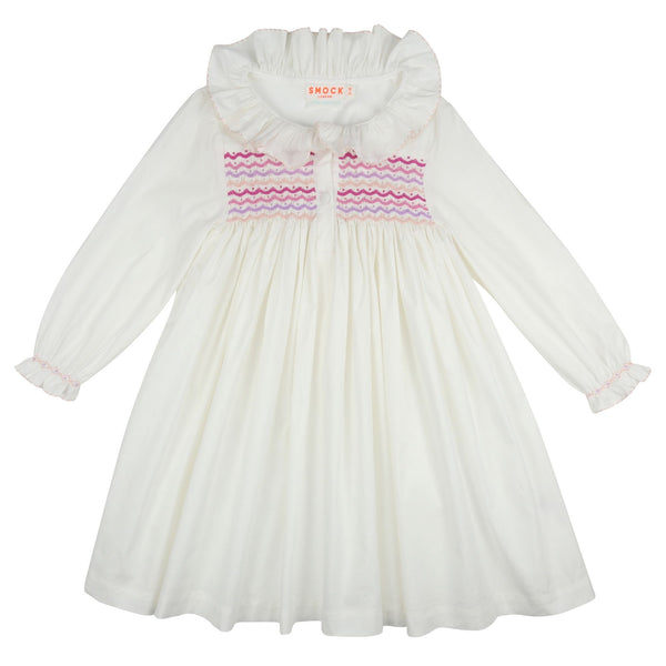 *PRE-ORDER* Nightingale Night Dress Moonstone with Plum, Lavender and Seashell Scallop Smocking