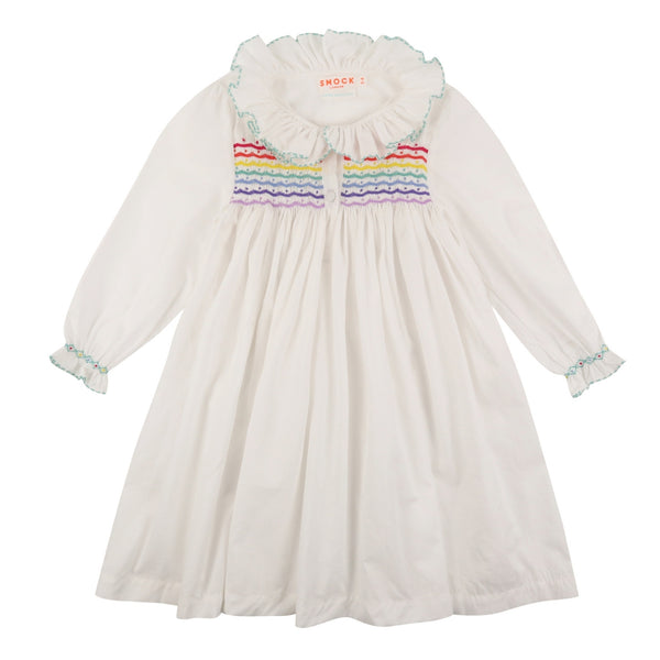 Nightingale Night Dress Moonstone with Rainbow Smocking