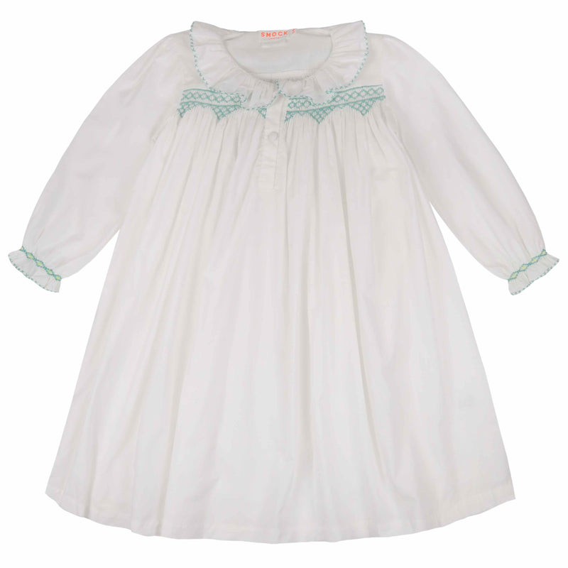 Nightingale Night Dress Moonstone with Mint Smocking