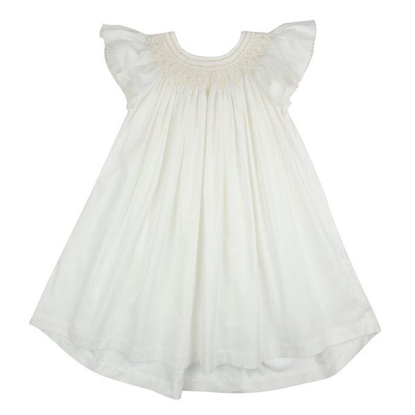 *PRE-ORDER* Queen Elizabeth 1st Night Dress Moonstone Cotton with Milk Lattice Smocking