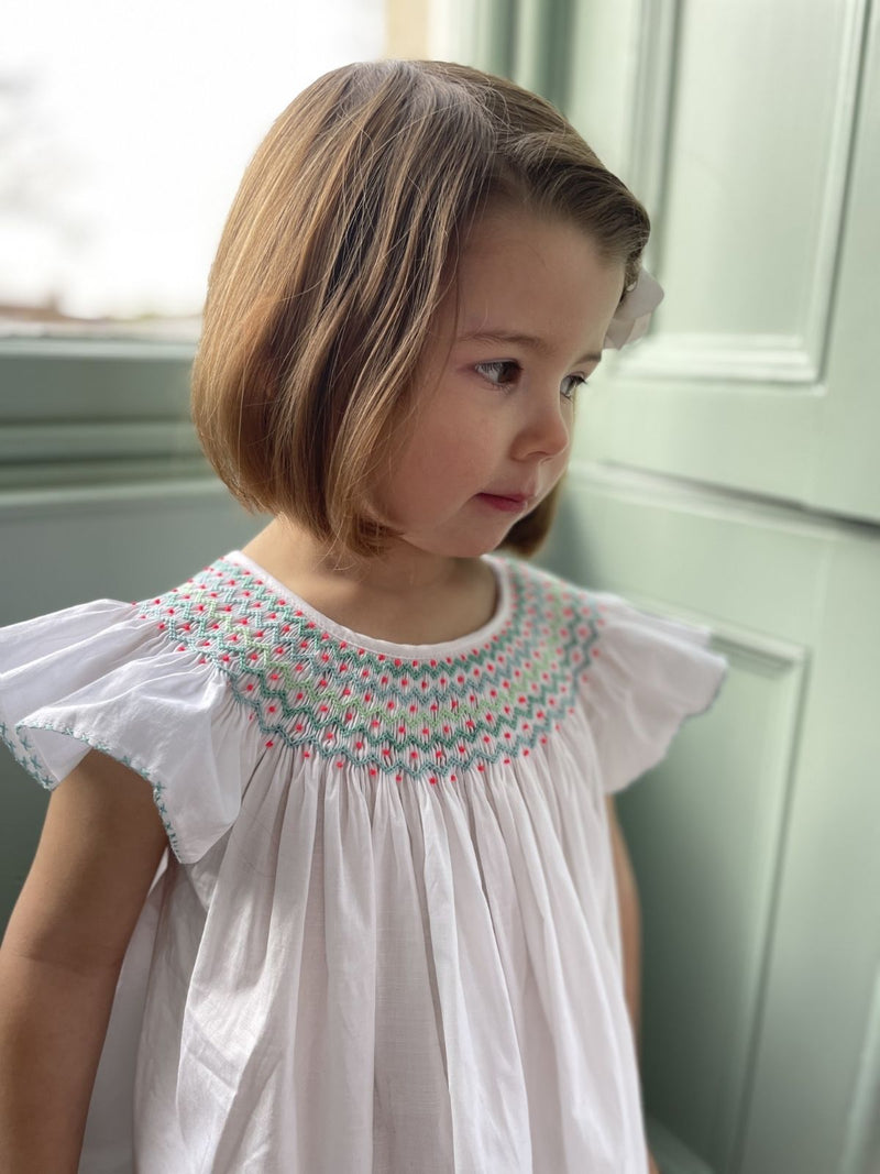 *PRE-ORDER* Queen Elizabeth 1st Night Dress Moonstone Cotton with Mint/Apple/Spearmint Smocking