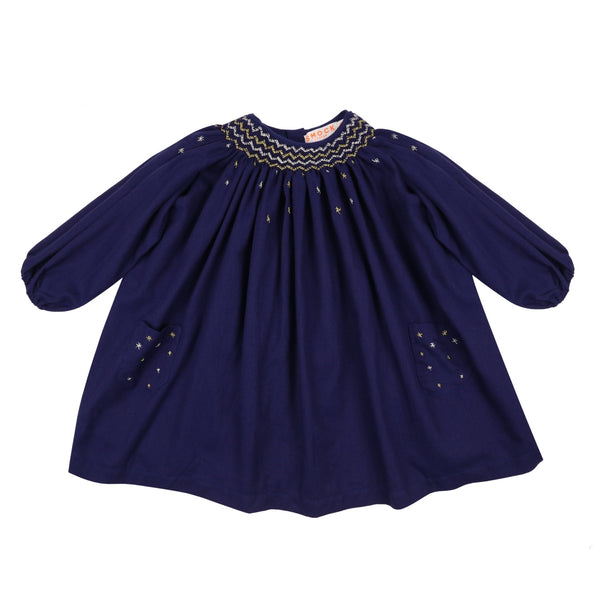 Queen Victoria Dress Midnight Blue Wool/Cotton with Zodiac Smocking