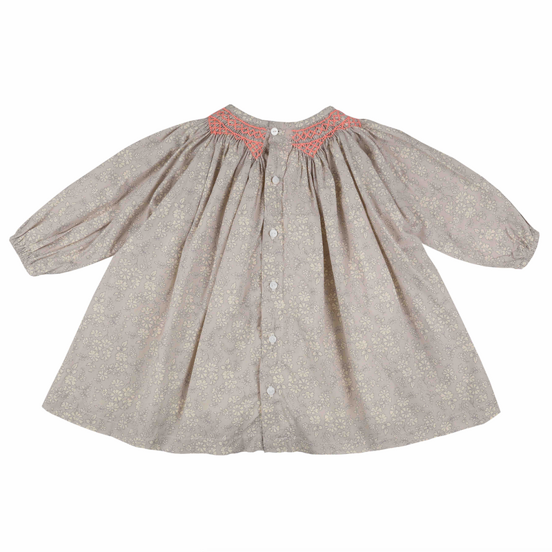 Queen Victoria Dress Liberty Grey Capel with Watermelon Smocking