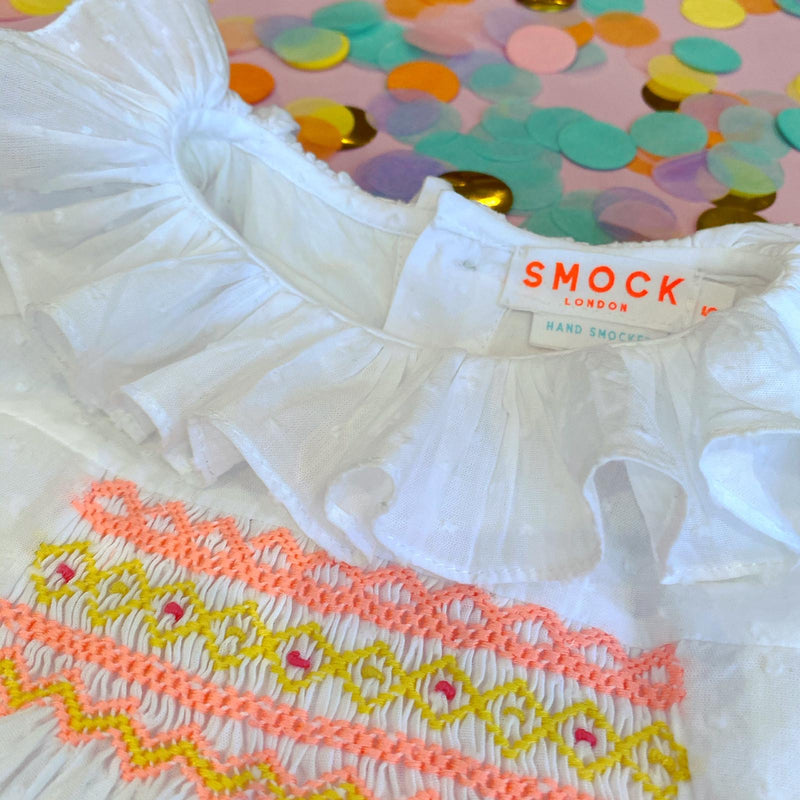 Rosa Parks Blouse White Spot with Watermelon/Lemon Smocking