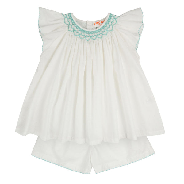 Rosalind Franklin Pyjamas White Spot Cotton with Mermaid Smocking