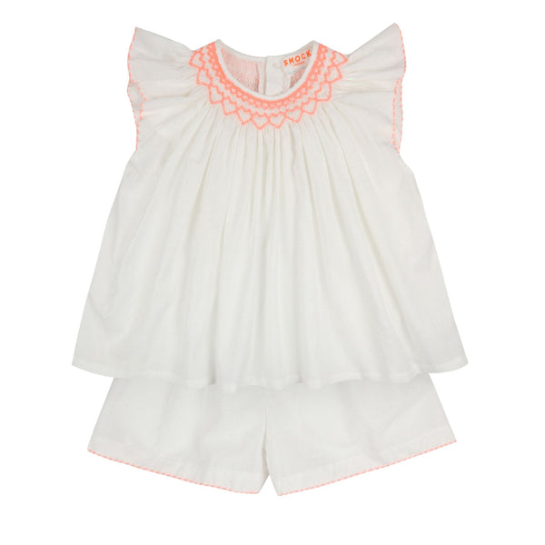 Rosalind Franklin Pyjamas White Spot Cotton with Watermelon Smocking