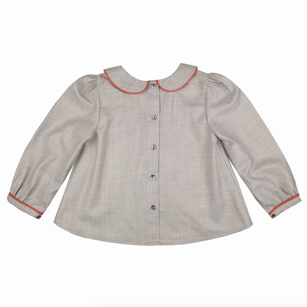 Marie Curie Blouse Pebble with Calypso Piping