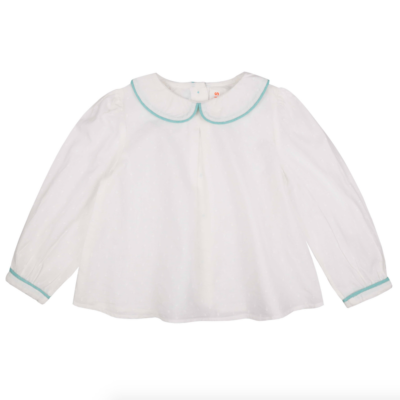 Marie Curie Blouse White Spot with Mint Piping