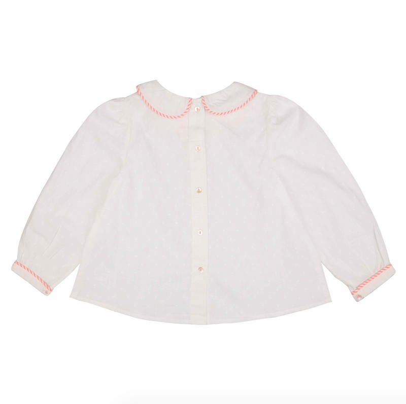 Marie Curie Blouse White Spot with Neon Watermelon Stripy Piping
