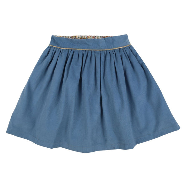 Seacole Skirt Cornflower Needlecord and Gold Piping