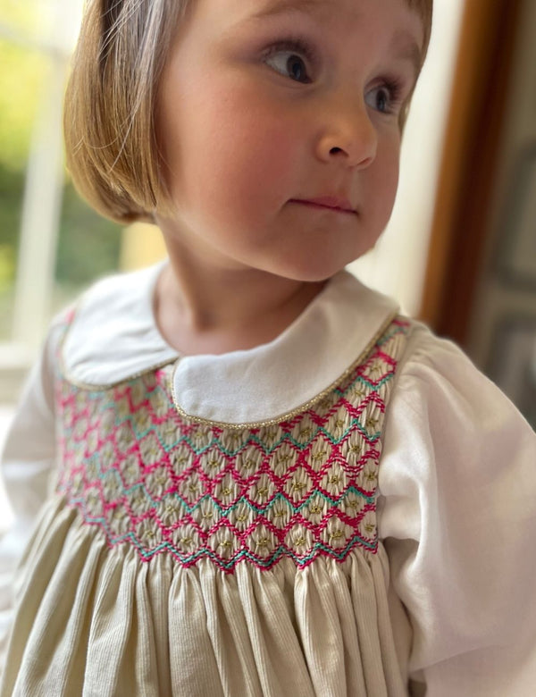 Tubman Tunic Ivory Needlecord with Cherry/Mint/Gold Smocking