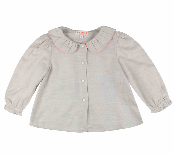Woolf Blouse Milk with Watermelon Stitching
