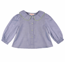 Woolf Blouse Periwinkle with Sour Lemon Stitching
