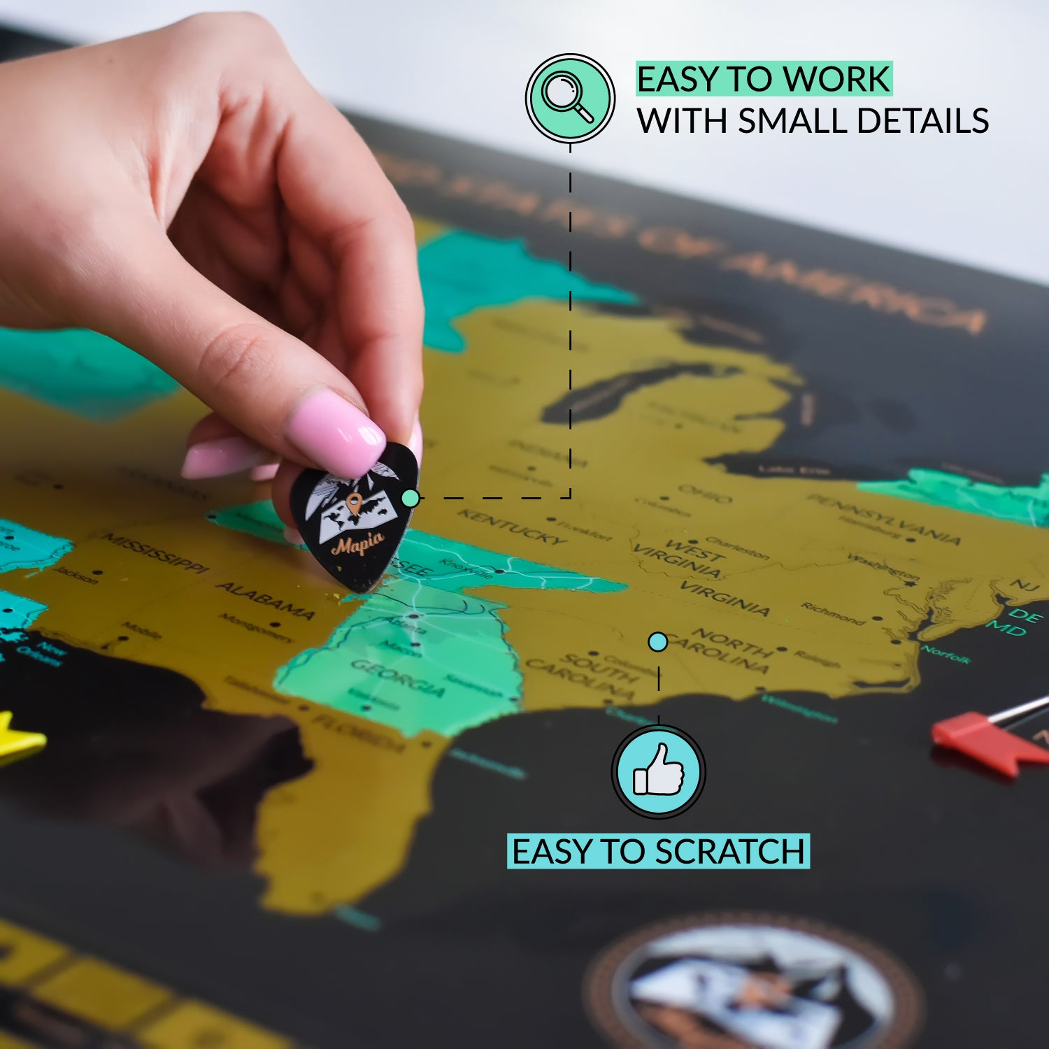 Scratch Off World Map Poster with United States Travel ...