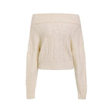 Twist knitted off shoulder women sweater