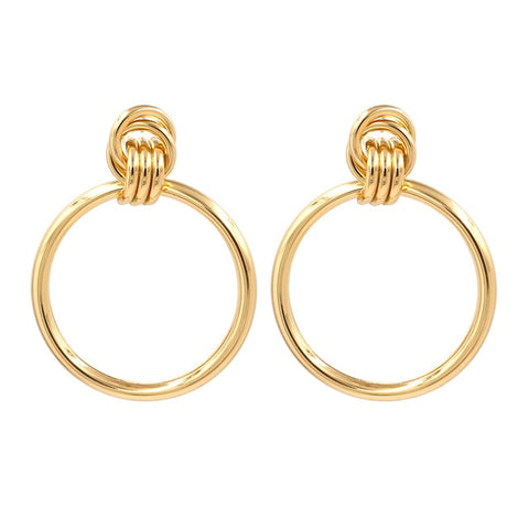 Women Metal Round Big Earrings
