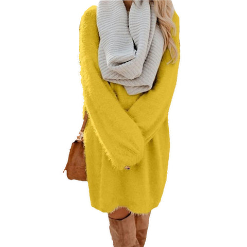 Plush Pullover Long Sweater Dress - Pick your color