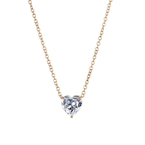 Crystal Heart Necklace Pendant - Gold or silver