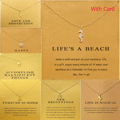 Perfect Gift Necklace - Lifes a Beach, Happy, Love