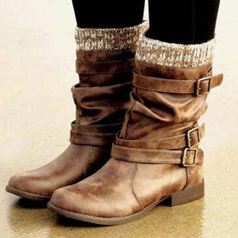 Buckle PU Leather Boots - Many Colors