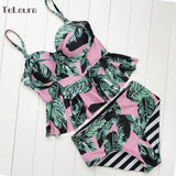Palm Tree Push Up Swimsuit High Waist Set