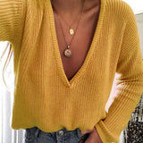 Deep V Neck Sweaters Casual Top