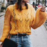 O Neck Hollow out Yellow Pullovers Sweater