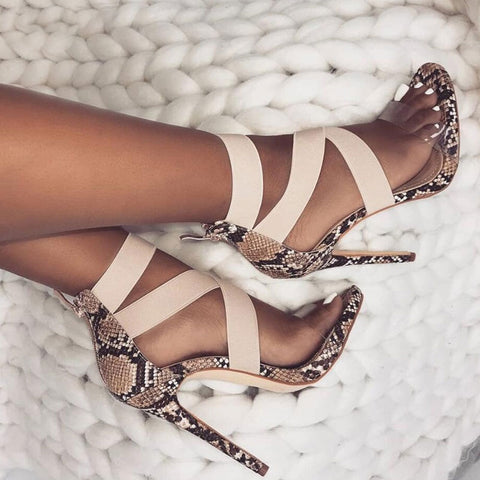 Sandals Open Toe Stiletto High Heels Snake Print