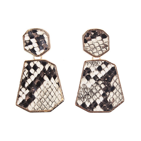 Maxi Imitation Snake Print Dangle Water Drop Earrings