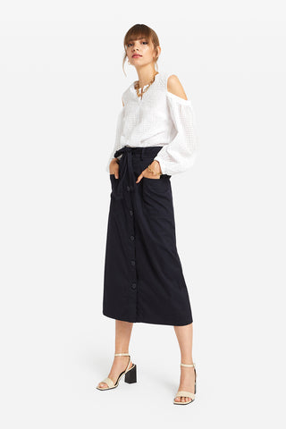 Ottodame Cotton Midi Skirt With Buttons