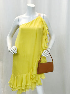 yellow ruffle one shoulder dress