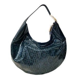 Navy Blue Patent Leather Horsebit Mini Hobo