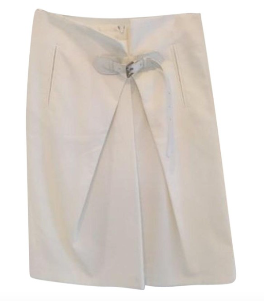 White Pleated A-Line Skirt with Belt