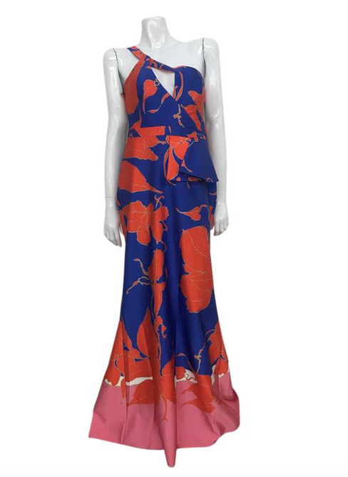 MAISON D. Long Orange and Blue Printed Evening Gown