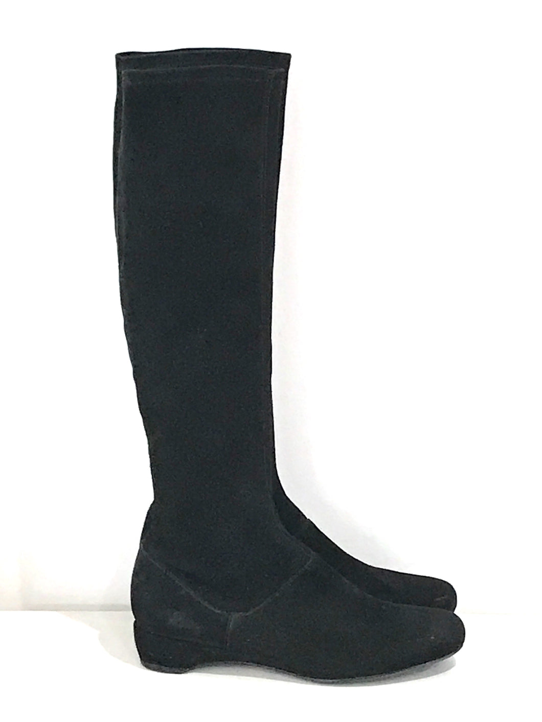 Suede Black Riding Boots