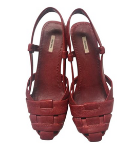 Red Leather Slingback Wooden Wedges With