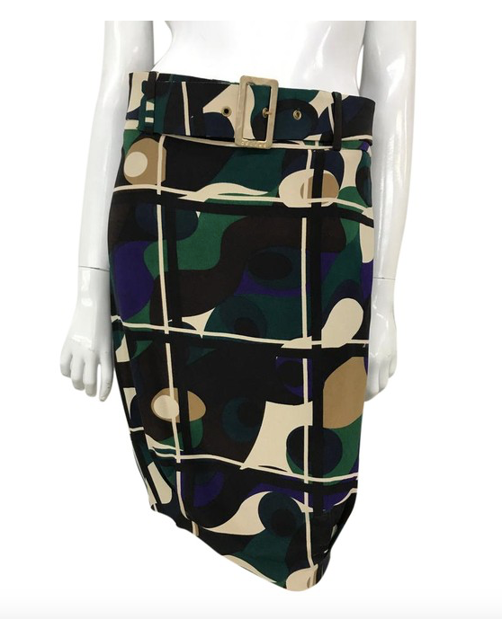 Printed Knee Length Skirt With Belt
