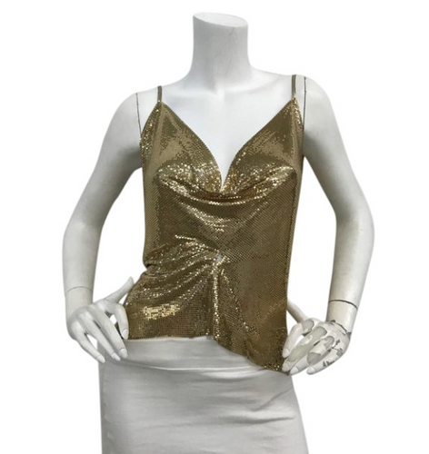 70's Gold Metal Mesh Top