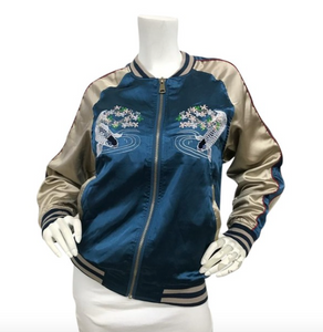 Vintage Satin Embroidered Bomber