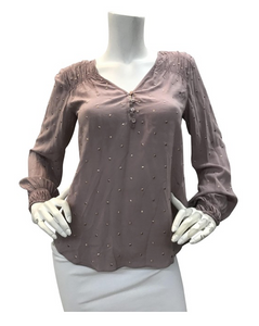 Lavender Blouse with Gold Detail